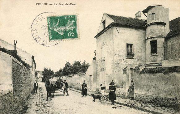 Cartes Postales Anciennes - Piscop la Grande rue en 1910
