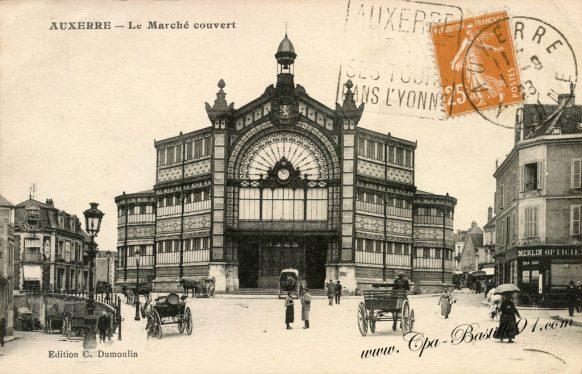 Carte Postale Ancienne - Auxerre le Marché couvert