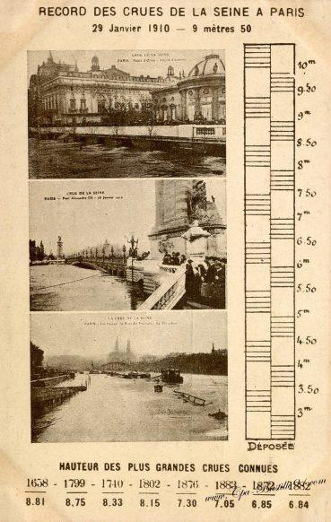 Record des crues de la Seine à Paris - Le 29 Janvier 1910 à 9 mètres 50