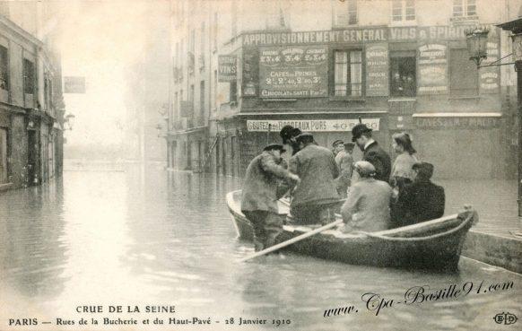 Crue de la Seine – Paris – Rues de la Bucherie et du Haut-Pavé – 28 Janvier 1910