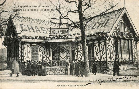 Carte Postale Ancienne - Exposition internationale - Roubaix 1911- Pavillon Chasse et Pêche