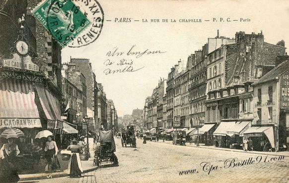 Carte Postale Ancienne - Paris - La rue de la chapelle à la belle époque