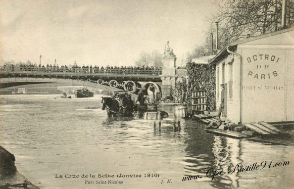 Inondations de Paris - La crue de la Seine en 1910 - L'Octroi du Port Saint Nicolas