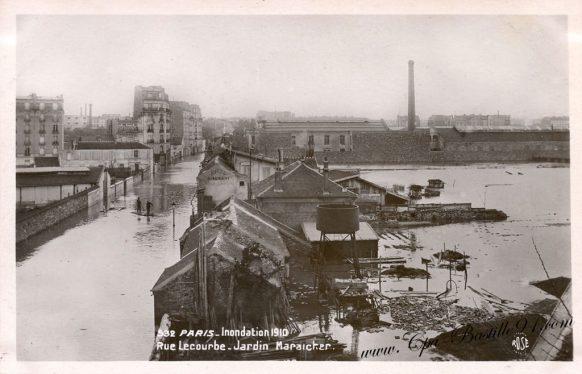 Inondations de 1910 à paris - Rue lecourbe - Jardin Maraicher