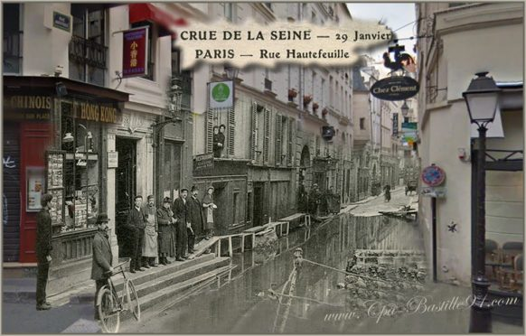 Crue-de-la-Seine-de-1910-rue-Hautefeuille-dhier-a-aujourdhui