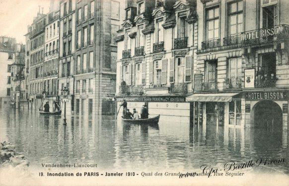Inondations de Paris en Janvier 1910 – Rue Séguier - Quai des grands Augustins