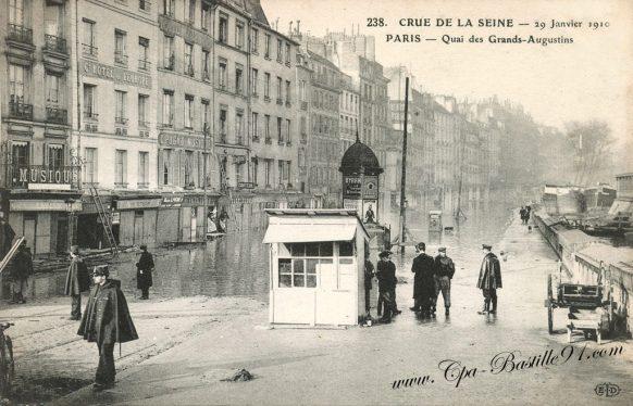 Crue de la Seine le 29 Janvier1910 – Paris - Quai des grands Augustins