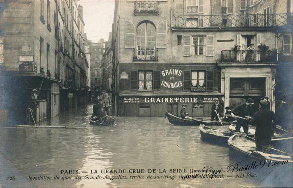 Paris La grande Crue de la Seine en Janvier 1910 – Service de sauvetage