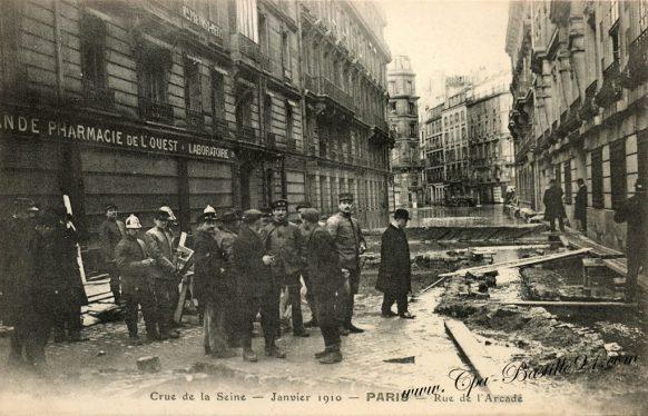 Carte Postale Ancienne - Crue de la Seine en janvier 1910 - Paris rue de l'Arcade