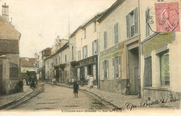 Carte Postale Ancienne - Villiers sur Marne - La rue de paris en 1900