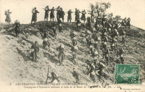 Carte Postale Ancienne - Les Grandes manoeuvres de Courtenay en 1911