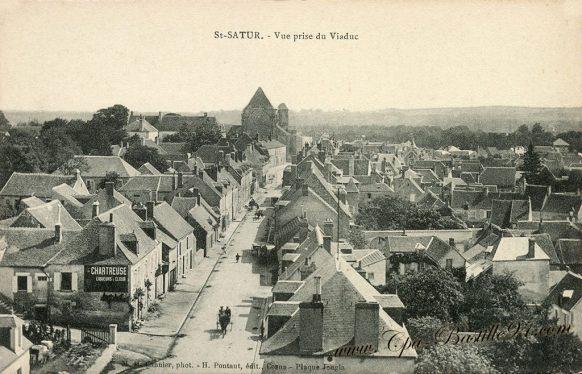Carte Postale Ancienne de St-Satur - La vue prise du Viaduc