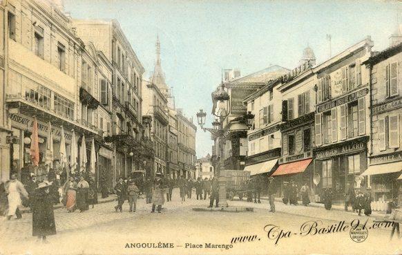 Carte Postale Ancienne d' Angoulême - La place Marengo dans les années 1900