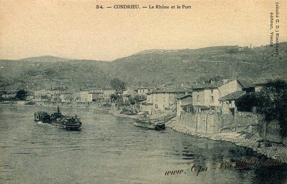 Carte Postale Ancienne de Condrieu - Le Rhône et le Port
