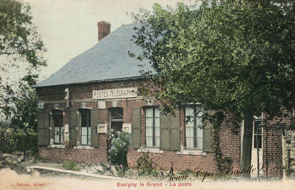 Carte Postale Ancienne d'Essigny-le-Grand - La Poste et Télégraphes