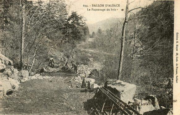 Carte postale Ancienne du Ballon d'Alsace - Le Façonnage du Bois