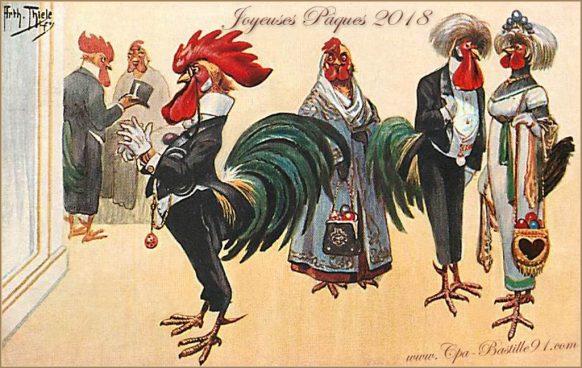 Joyeuses Pâques 2018 avec cette carte Postale Ancienne de Coqs et de Poules