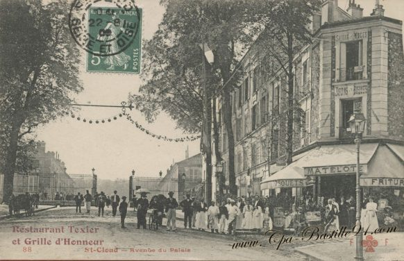 Carte Postale Ancienne de St-Cloud - Avenue du palais - Le Restaurant Texier à la belle époque