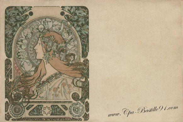 Carte Postale Ancienne d'Alphonse Mucha - Zodiaque