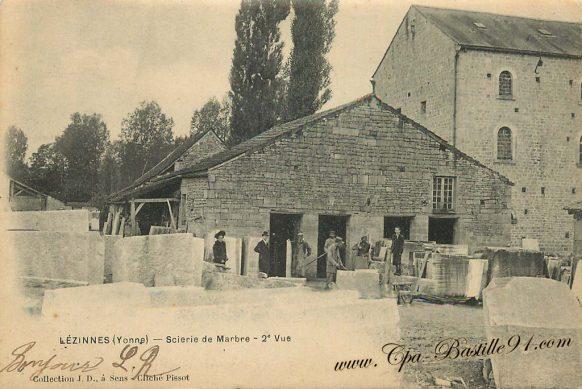 Carte Postale Ancienne de Lezinnes - Scierie de Marbre