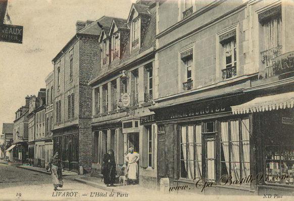 Carte postale ancienne de Livarot - l'Hôtel de Paris à la belle époque