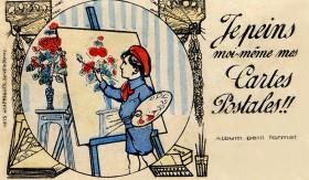 Carte Postale Ancienne à̀ Peindre soi-même - Les Roses | Cartes Postales Anciennes